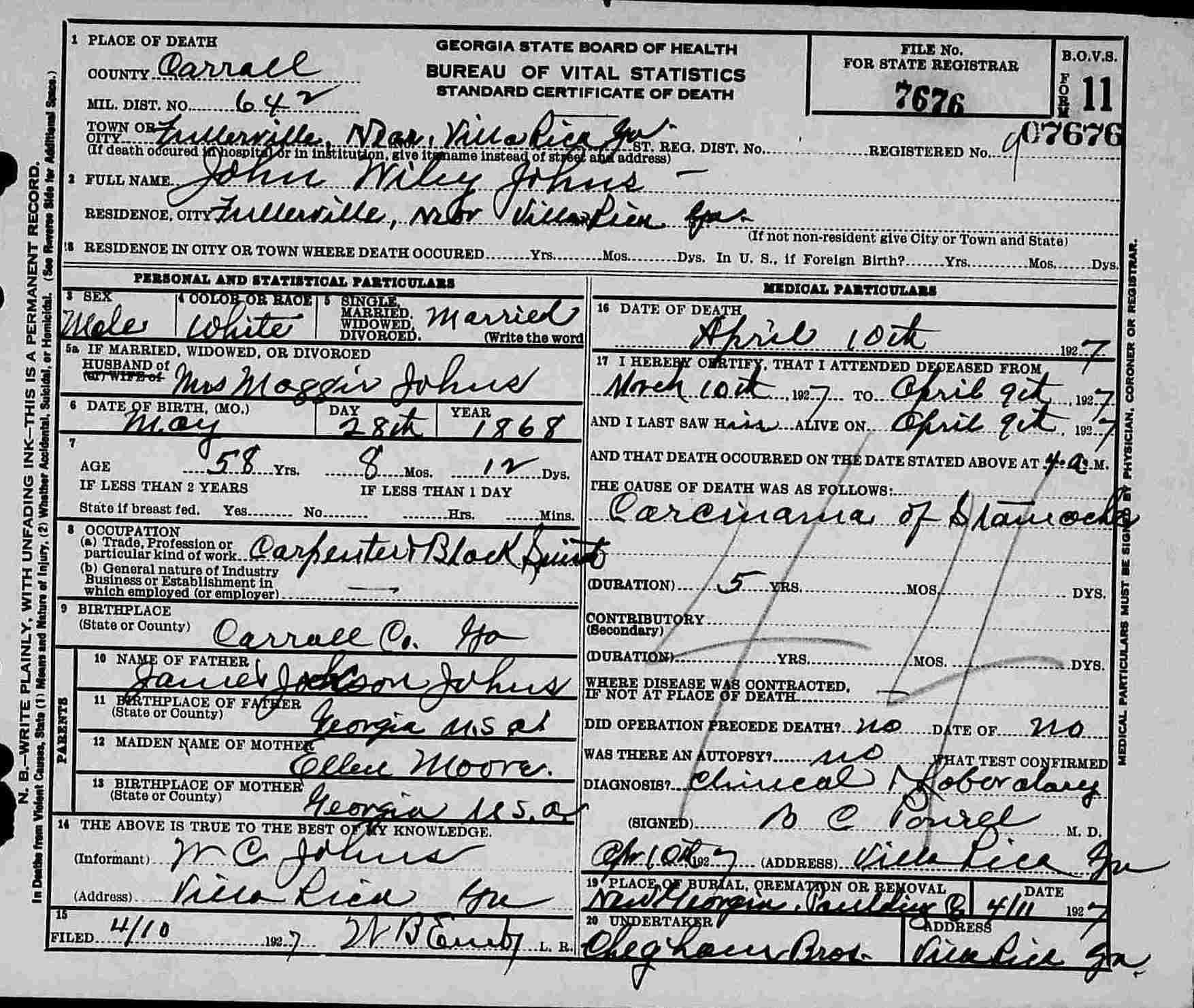 John Wylie Johns Death Certificate Roots Of Kinship