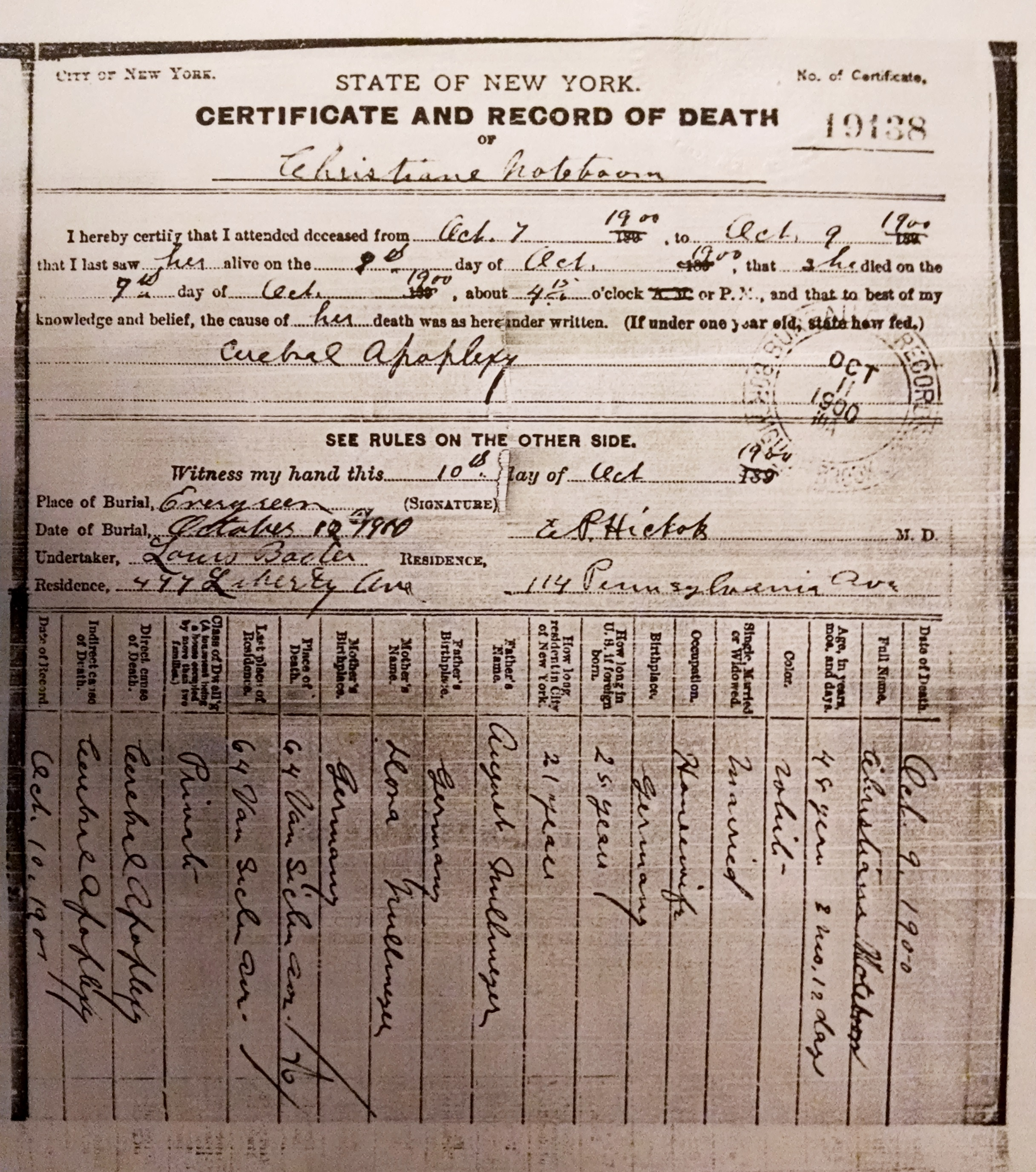Death Certificates For Walter And Christiane Noteboom
