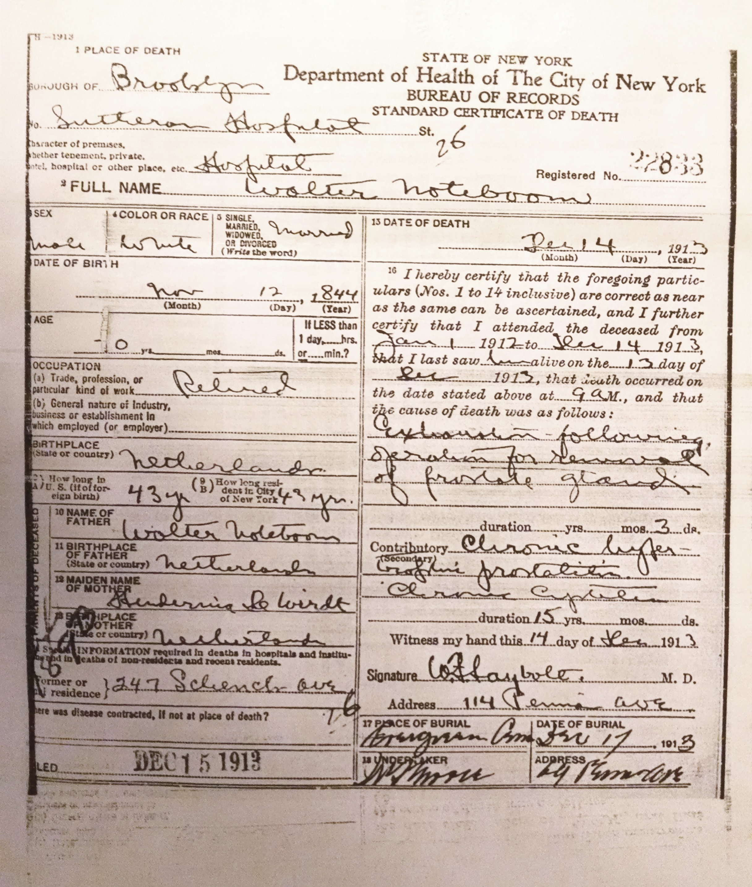 transcript of christianes death certificate